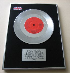 DAVID BOWIE & MICK JAGGER - DANCING IN THE STREET PLATINUM Single Presentation DISC